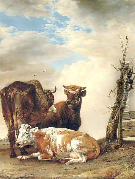 Two Cows & a Young Bull beside a Fence in a Meadow 1647 Oil Painting - Paulus Potter