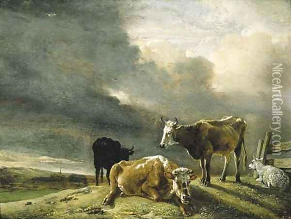 Cows and Sheep in a Meadow, a Farmstead beyond Oil Painting - Paulus Potter
