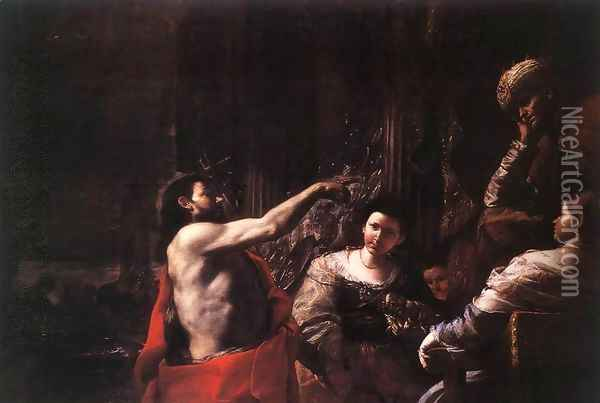 St John the Baptist before Herod c. 1665 Oil Painting - Mattia Preti