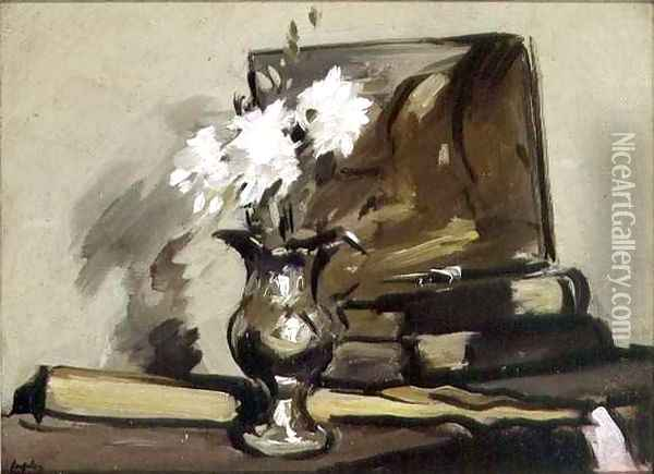 Flowers in a Silver Jug Oil Painting - Samuel John Peploe