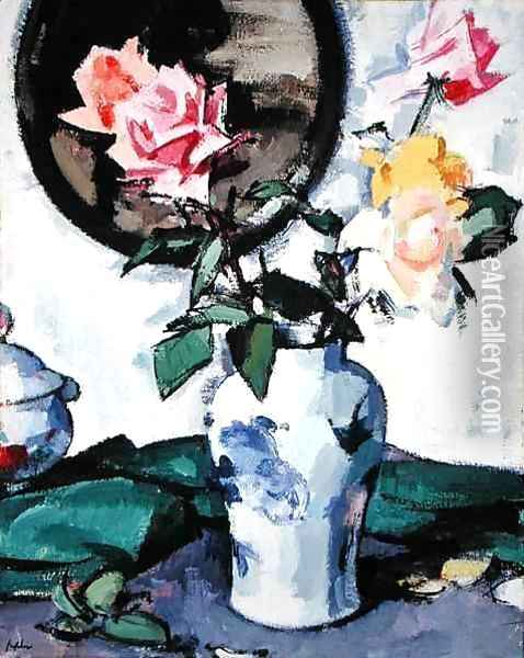 Still Life with Mixed Roses, c.1922 Oil Painting - Samuel John Peploe