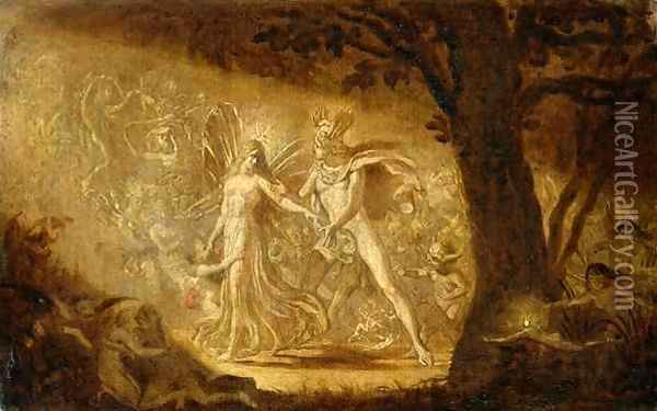 Study for The Quarrel of Oberon and Titania, c.1849 2 Oil Painting - Sir Joseph Noel Paton