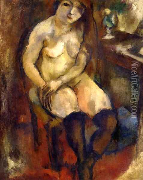 Nude with Black Stockings Oil Painting - Jules Pascin
