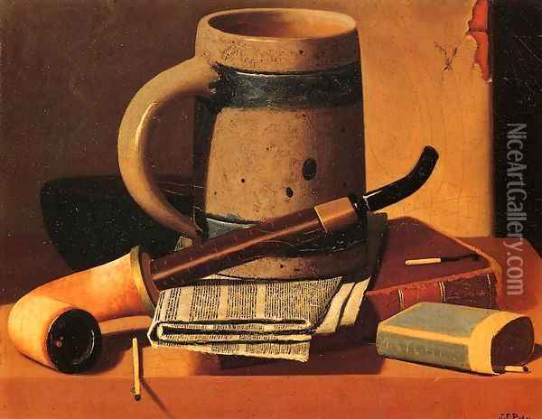Still Life with Pipe, Beer Stein, Newspaper, Book and Matches Oil Painting - John Frederick Peto