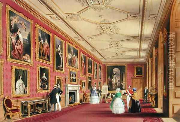 The Vandyke Room, Windsor Castle, 1838 Oil Painting - James Baker Pyne