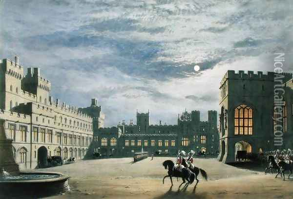 State arrival of a royal visitor, the Quadrangle by moonlight, Windsor Castle, 1838 Oil Painting - James Baker Pyne