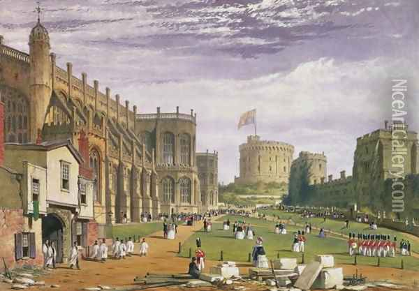 Lower Ward with a view of St Georges Chapel and the Round Tower, Windsor Castle, 1838 Oil Painting - James Baker Pyne