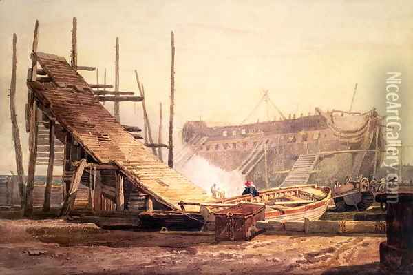 A Shipyard at Blackwall Oil Painting - Samuel Prout