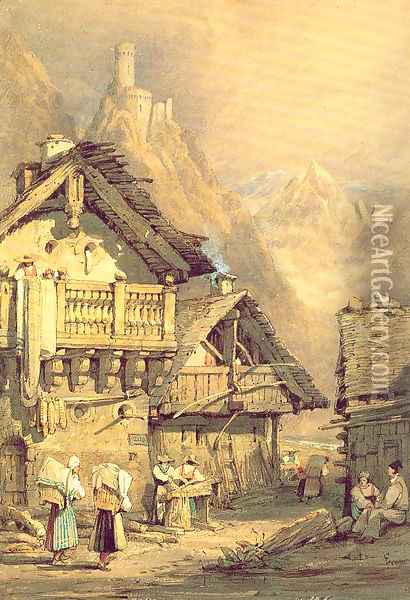 Alpine Village 1824 Oil Painting - Samuel Prout