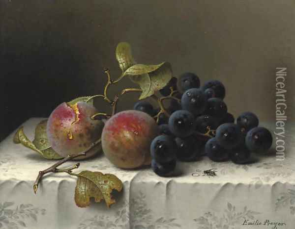 Prunes and grapes on a damast tablecloth Oil Painting - Emilie Preyer