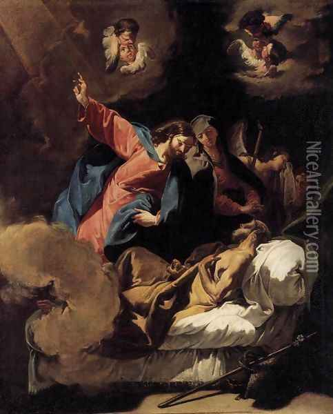 The Death of Joseph Oil Painting - Giovanni Battista Pittoni the younger