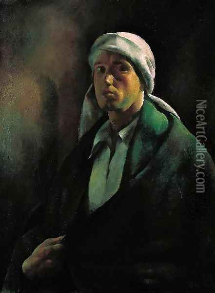 Self-Portrait Self-Portrait with a Turban 1922 Oil Painting - Karoly Patko