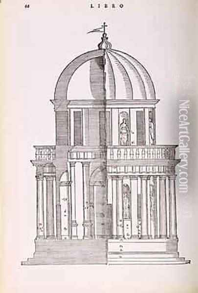 Elevation and Cross Section of the Temple of Jupiter Stator, illustration from a facsimile copy of I Quattro Libri dellArchitettura written by Palladio, originally published 1570 Oil Painting - Andrea Palladio