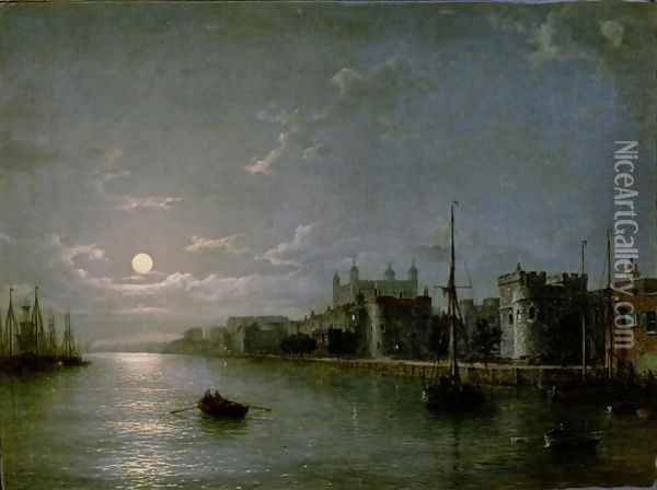 Moonlight on the Thames Oil Painting - Henry Pether
