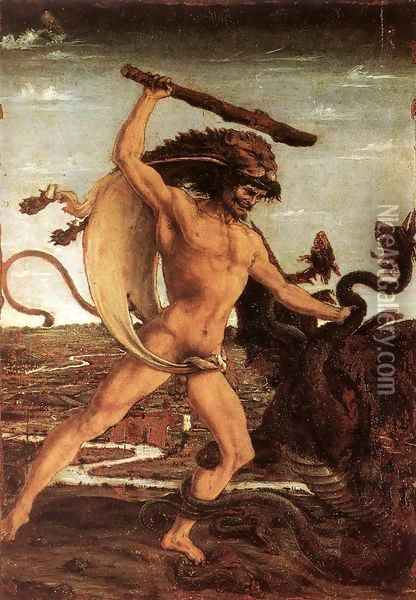 Hercules and the Hydra c. 1475 Oil Painting - Antonio Pollaiolo