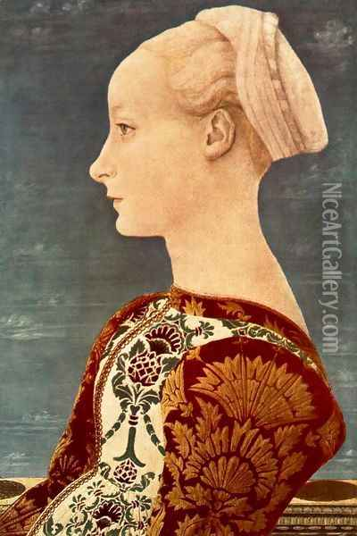 Portrait of a Young Woman c. 1465 Oil Painting - Antonio Pollaiolo