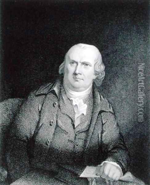 Robert Morris 1733-1806 engraved by Thomas B. Welch 1814-74 after a copy of the original by James Barton Longacre 1794-1869 Oil Painting - Robert Edge Pine