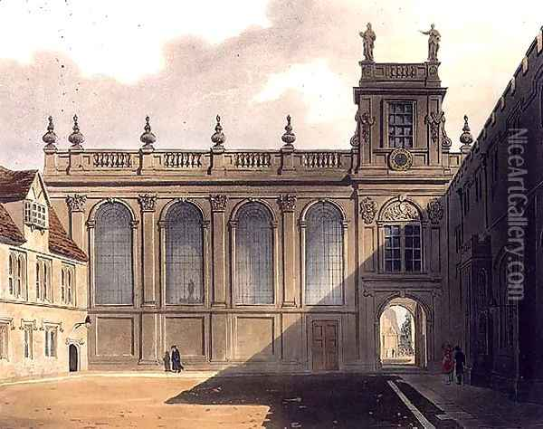 Exterior of Trinity College Chapel, illustration from the History of Oxford, engraved by J. Bluck fl.1791-1831 pub. by R. Ackermann, 1813 Oil Painting - Augustus Charles Pugin