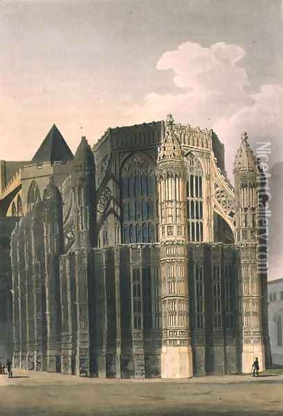 The Chapel of Henry VII showing Two Renovated Pinnacles, plate 4 from Westminster Abbey, engraved by J. Bluck fl.1791-1831 pub. by Rudolph Ackermann 1764-1834 1811 Oil Painting - Augustus Charles Pugin
