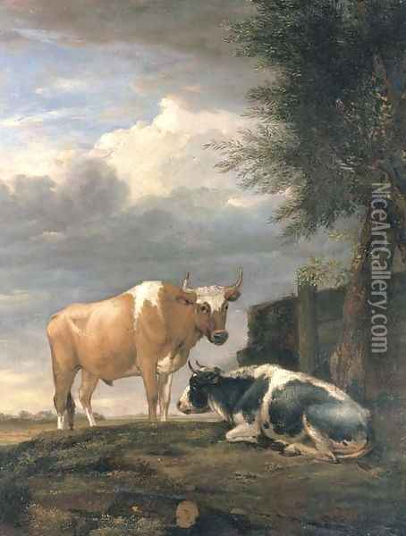 Two cows in a landscape Oil Painting - Paulus Potter