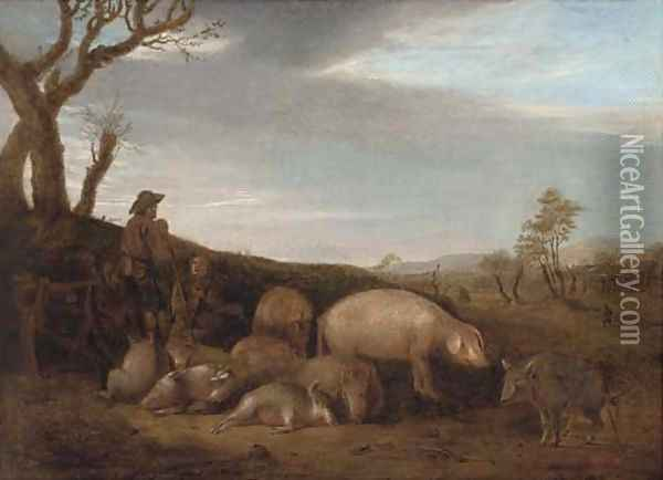 A swineherd with pigs in a landscape Oil Painting - Paulus Potter
