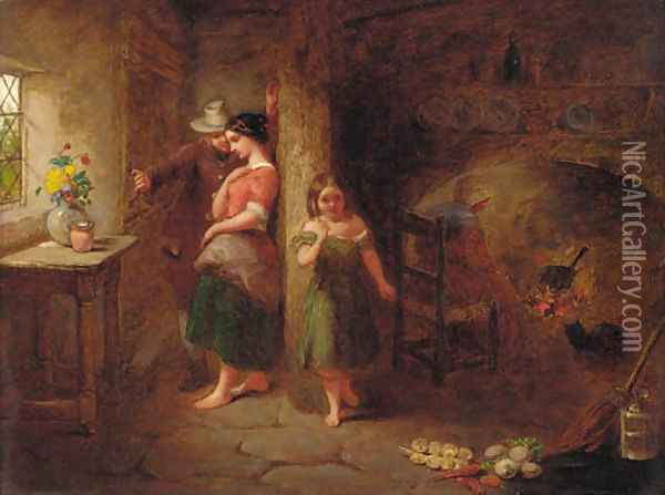 Figures in a cottage interior Oil Painting - After John Anthony Puller