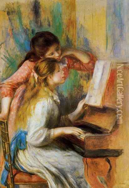 Girls at the Piano I Oil Painting - Pierre Auguste Renoir
