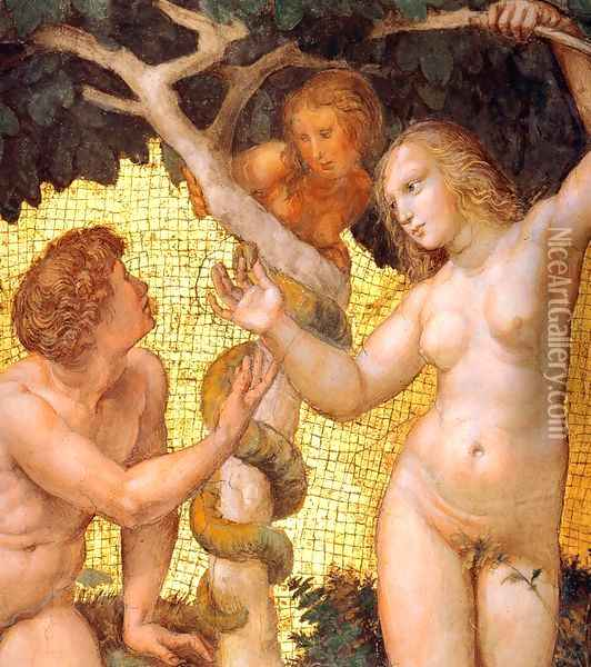 The Stanza della Segnatura Ceiling: Adam and Eve [detail: 1] Oil Painting - Raphael