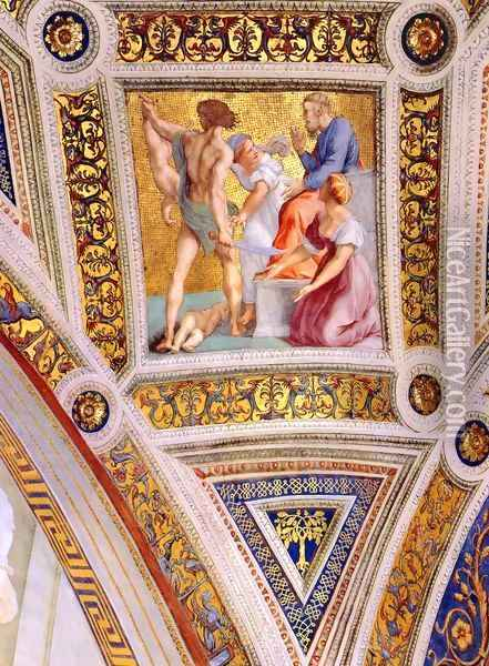 The Stanza della Segnatura Ceiling: The Judgment of Solomon [detail: 2] Oil Painting - Raphael
