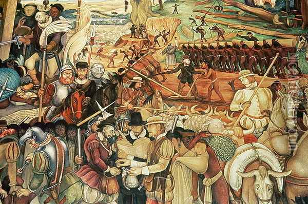 Colonisation the great city of tenochtitlan detail from for Diego rivera tenochtitlan mural