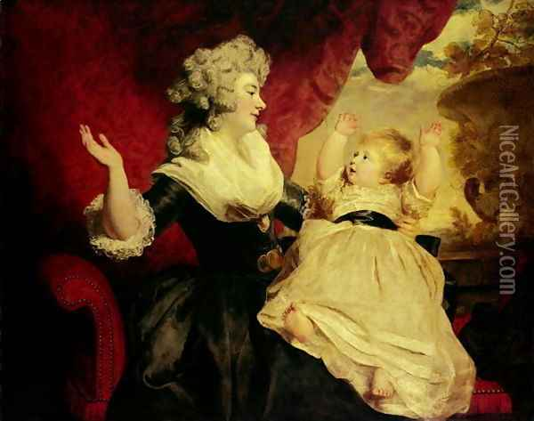 Georgiana, Duchess of Devonshire and her Daughter, Lady Georgiana Cavendish, 1784-86 Oil Painting - Sir Joshua Reynolds