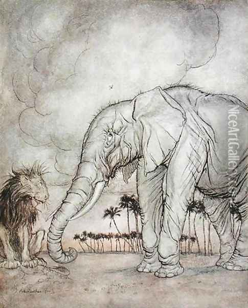 The Lion, Jupiter and the Elephant, illustration from Aesops Fables, published by Heinemann, 1912 Oil Painting - Arthur Rackham
