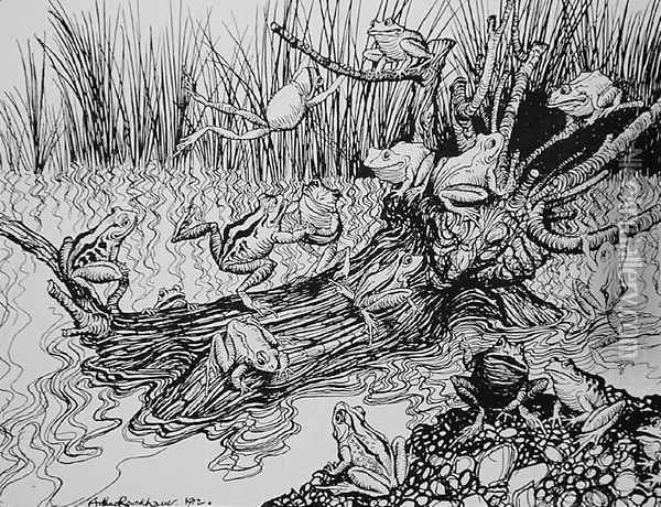 King Log, illustration from Aesops Fables, published by Heinemann, 1912 Oil Painting - Arthur Rackham