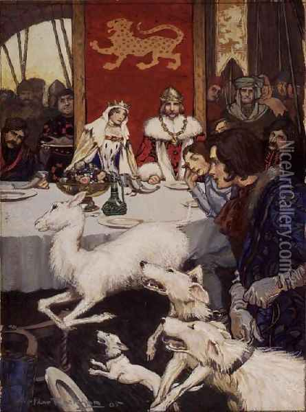 King Arthurs Wedding Feast, 1905 Oil Painting - Arthur Rackham