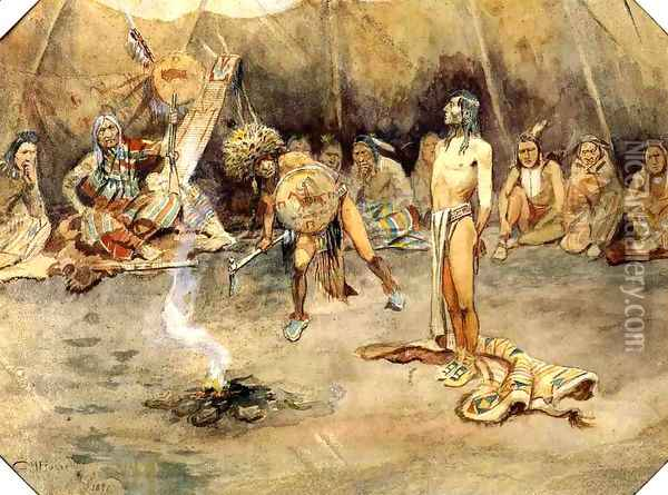 Sioux Torturing a Blackfoot Brave Oil Painting - Charles Marion Russell