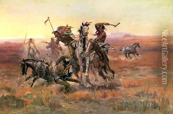 When Blackfeet and Sioux Meet Oil Painting - Charles Marion Russell