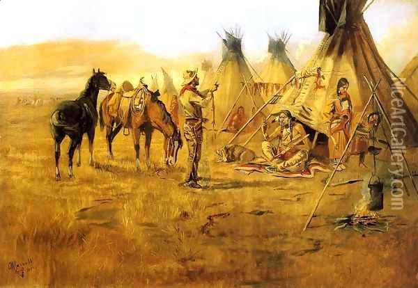 Cowboy Bargaining for an Indian Girl Oil Painting - Charles Marion Russell