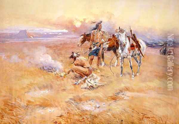 Blackfeet Burning Crow Buffalo Range Oil Painting - Charles Marion Russell