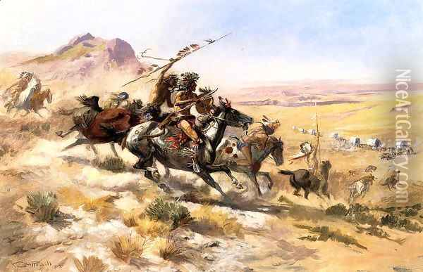 Attack on a Wagon Train Oil Painting - Charles Marion Russell