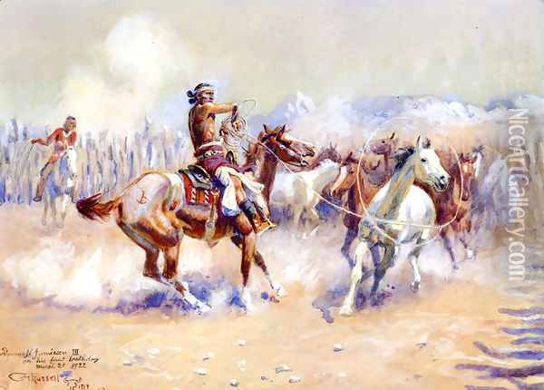 Navajo Wild Horse Hunters Oil Painting - Charles Marion Russell