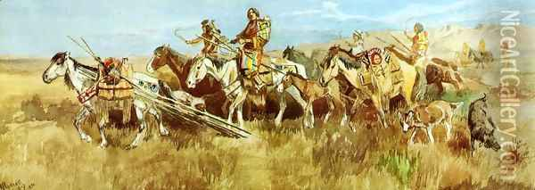 Indian Women Moving Camp I Oil Painting - Charles Marion Russell