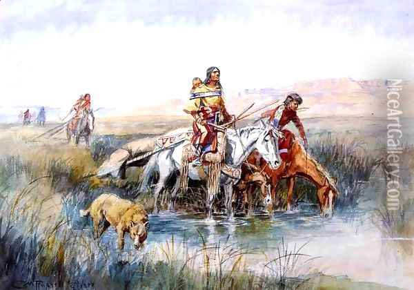 Indian Women Moving Camp Oil Painting - Charles Marion Russell