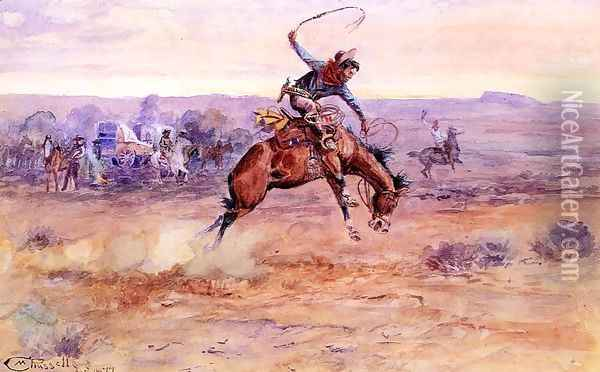 Bucking Bronco Oil Painting - Charles Marion Russell