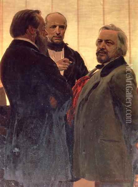Vladimir Odoevsky (1803-69), Mily Balakirev (1837-1910) and Mikhail Ivanovich Glinka (1804-57), 1890s Oil Painting - Ilya Efimovich Efimovich Repin