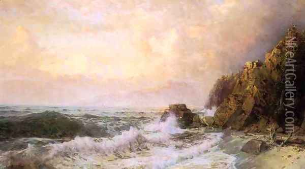 Rough Seas Near Snow Capped Mountains Oil Painting - William Trost Richards