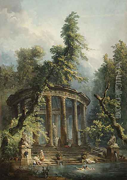 The Bathing Pool Oil Painting - Hubert Robert