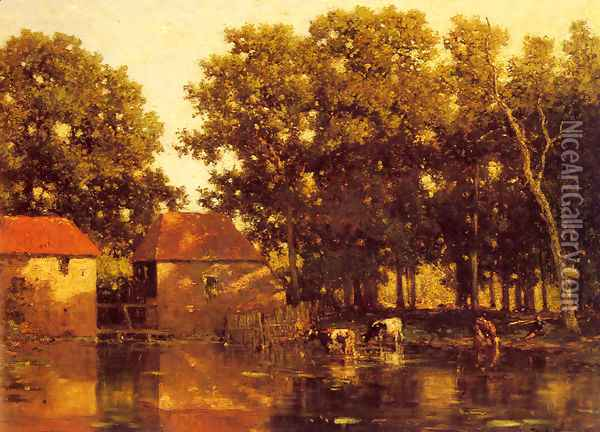 A Sunlit River Landscape With Cows Watering Oil Painting - Willem Roelofs