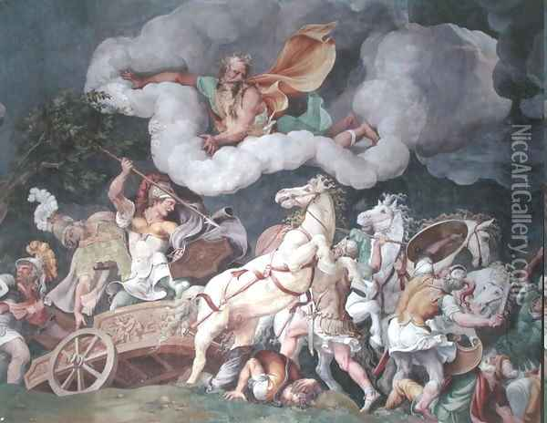 Achilles dragging the body of Hector round on his chariot, detail from the ceiling of the Sala di Troia, c.1538 Oil Painting - Giulio Romano (Orbetto)