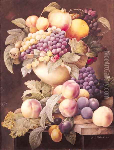 Fruits Oil Painting - Pierre-Joseph Redoute