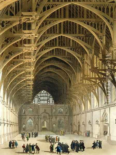Westminster Hall, engraved by J. Bluck fl.1791-1831 pub. by R. Ackermann, 1809 Oil Painting - T. Rowlandson & A.C. Pugin
